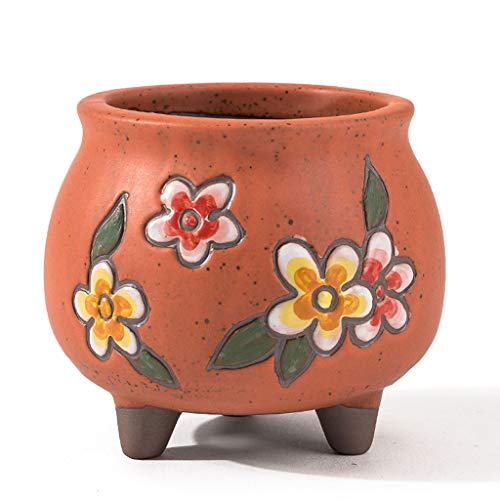 ZXW Flower Pot- Creative Hand-Painted Vintage Ceramic Flower Pot, Home Desktop Breathable Flower Pot (Color : Orange, Size : 8x8.5cm)