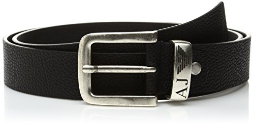 Armani Jeans Men's Classic Aj Leather Belt, Black, One Size (Armani Jeans Leather Belt)