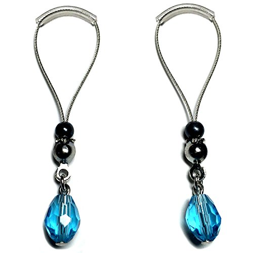BoDivas Nipple Noose Faceted Teardrop Non Piercing Body Jewelry Rings (Hawaiian Blue) (Rings Faceted Five Gemstone)