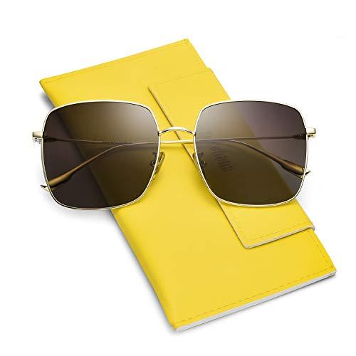 (Mosanana Oversized Square Sunglasses for Women Polarized Trendy Fashion Stylish Brown Vintage Super Large Big Ladies Unique Popular Classic Sunnies Shades lentes gafas de sol de para mujer polarisados)