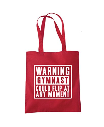 Warning Gymnast Could Flip at Any Moment - Gym bag Tote Shopper Fashion Bag Red