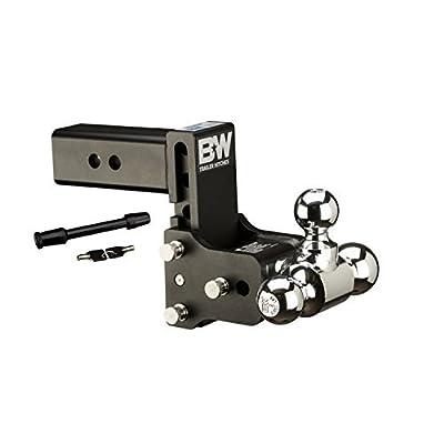 Image of Ball Mounts B&W Hitches TS20048B Adjustable Hitch Ball Mount w/1-7/8'x 2' x 2-5/16' Tri-Ball and 5/8' Black Receiver Hitch Lock Bundle