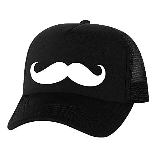 Mustache Truckers Mesh snapback hat in Black - One Size]()