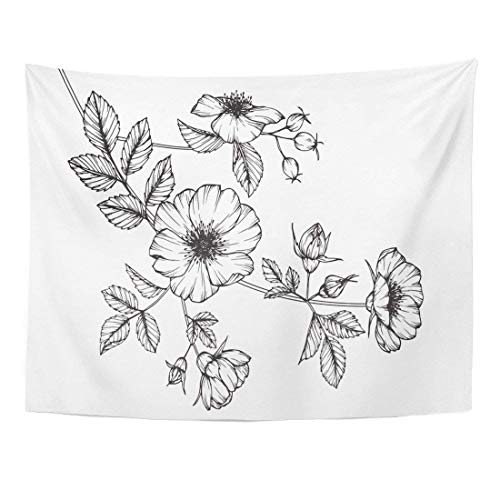 (TOMPOP Tapestry Black Wild Rose Flowers Drawing Sketch Line on White Botanical Home Decor Wall Hanging Living Room Bedroom Dorm 50x60 inches )