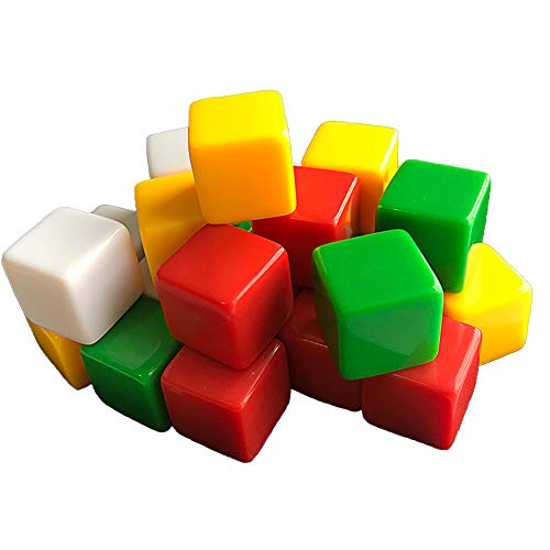 16mm Blank Dice Cubes, Four Colors D6 Fun Dice for Board Games DIY and Teaching - Bag of 24