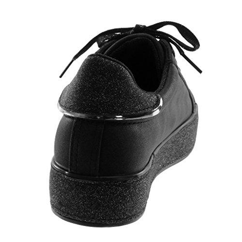 Chic Tennis Donna Moda 5 Tacco Scarpe Angkorly Perforato 3 Lucide Nero Sporty Piatto Sneaker Zeppe Paillette Cm q0tX6wWg