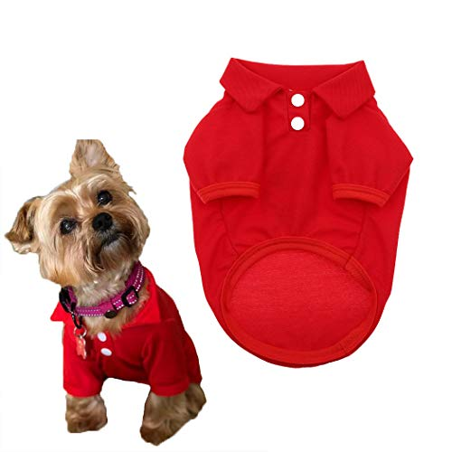 Petea Dog Shirts Pet Puppy Cotton Polo Shirt Basic T-Shirt Clothes for Dogs and Cats (XS, Red)