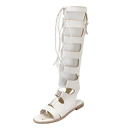 Women Sandals Flat White TAOFFEN Gladiator 0tqzdd