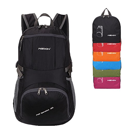 Ultra Lightweight Packable Backpack Hiking Daypack,Handy Foldable Camping Outdoor Backpack 35L Black