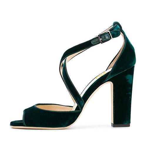 Fsj Vrouwen Elegante Peep Toe Cross Riem Sandalen Dikke Hak Fluwelen Kantoor Jurk Schoenen Maat 4-15 Us Emerald