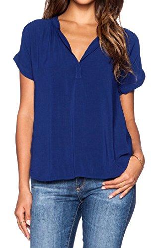 - LILBETTER Women Chiffon Blouse V Neck Short Sleeve Top Shirts (L, Royal Blue)