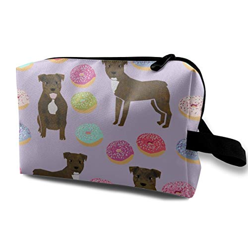 (Cosmetic bag for purse,Brindle Pitbull Fabric Cute Pittys And Donuts Design - Purple_4500,Oxford cloth Colourful Bag Mini Travel)
