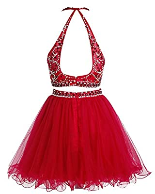 Bridesmay Short Tulle Two Piece Homecoming Dress Beaded Party Dress Prom Dress