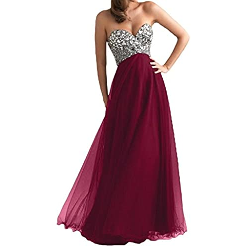 Ouman Womens Long Tulle Party Dress Prom Gown Burgundy XL