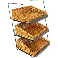 Mobile Merchandisers CRST1306-3B-MB 3-Tier 3 Rectangular Willow Basket Counter Display Rack