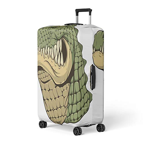 Pinbeam Luggage Cover Green Africa Ferocious Alligator Head on Yellow Aggression Travel Suitcase Cover Protector Baggage Case Fits 18-22 -