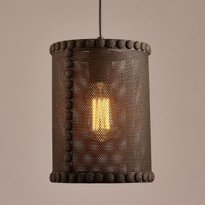 10' Single Mesh - hua Rust Iron 10'' Wide Single Light Cylinder Metal Mesh Shade Pendant with Small Flower Motif