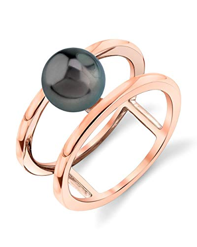 THE PEARL SOURCE 8-9mm Genuine Black Tahitian South Sea Cultured Pearl Rose Gold Ora Ring for Women