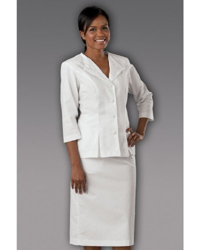 Peaches Uniforms Women's 3/4 Sleeve Embroider Collar Suit Scrub Dress White by Peaches