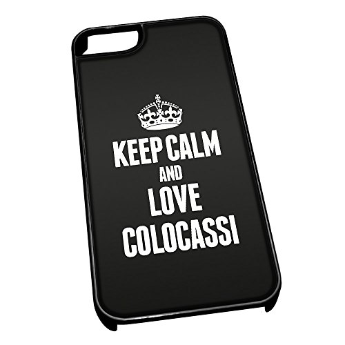 Nero cover per iPhone 5/5S 0984 nero Keep Calm and Love Colocassi