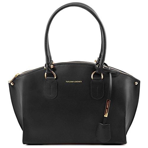 Tuscany Leather Diana Leder Tote-Tasche Elfenbein Schwarz