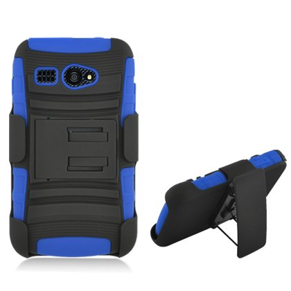 info for bbcf7 61f3a Aimo Wireless Hybrid Double Layer Skin Rhino Armor Case with Holster and  Swivel Belt Clip Combination for Kyocera Hydro C5170 - Retail Packaging -  ...
