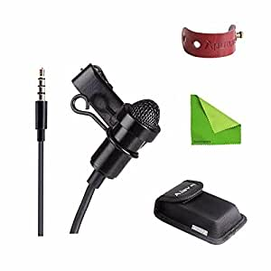 Aputure A.lav ez Broadcast Quality Omnidirectional Lavalier Condenser Microphone with Wind Shield Windscreen 10ft Durable Reinforced Cable for IOS and Android Device w/ EACHSHOT Cleaning Cloth