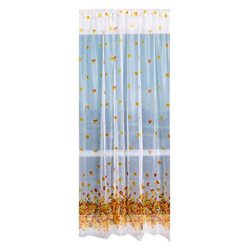 Fangoog Sheer Curtain Panels for Bedroom & Kitchen, Flower Tulle Window Curtain Terry Cut Yarn Wear Rod Window Treatment Voile Drape Valance 1 Panel Fabric ()