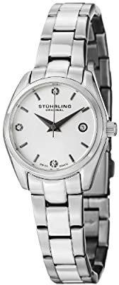 Stuhrling Original Women's 414L.01 Classic Ascot Prime Stainless Steel Bracelet Watch with White Dial and Swarovski Crystals