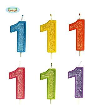 Vela para cumpleaños con purpurina Nº 1: Amazon.es: Juguetes ...