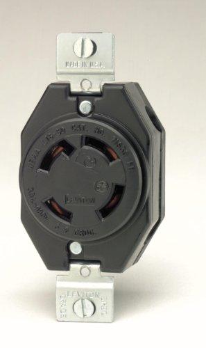 Leviton 2730 30 Amp, 480 Volt- 3PY, Flush Mounting Locking Receptacle, Industrial Grade, Grounding, V-0-MAX, Black (Leviton 30 Amp)