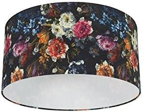 QAZQA Moderno Algodón Pantalla algodón 50/50/25 - FLORA, Redonda/Cilíndrica Pantalla lámpara colgante,Pantalla lámpara de pie: Amazon.es: Iluminación