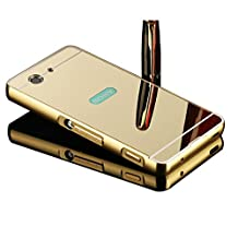 Sony Xperia Z3 Compact mini case,Vandot Luxury Ultra Slim Thin Detachable Metal Aluminum Bumper Frame Bling Mirror Case Cover PC Hard Back Shell Anti-scratch shockproof Protective skin Pattern-Gold