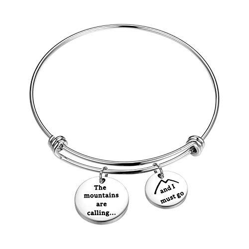 BNQL The Mountains are Calling Bracelet Nature Outdoor Gift for Hiker (Bracelet S)
