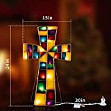 Melunar Decorative Cross Lights, Stained Glass