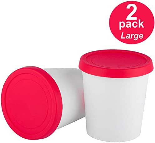 StarPack Premium Ice Cream Freezer Storage Containers - Set of 2 with Silicone Lids, for Ice Cream, Meal Prep, Soup and Food Storage
