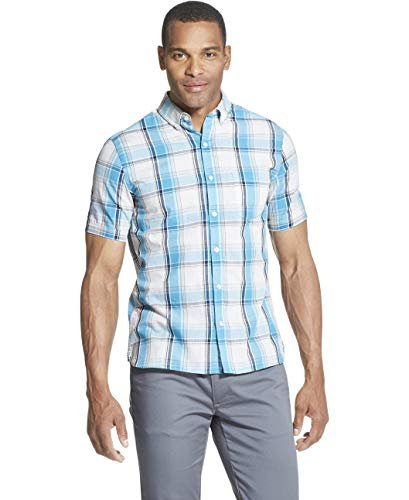 Van Heusen Men's Slim Fit Never Tuck Short Sleeve Button Down Shirt, Aqua Blue Moon, Large