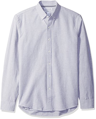 Amazon Essentials Men's Slim-Fit Long-Sleeve Solid Oxford Shirt, Grey, Large by Amazon Essentials