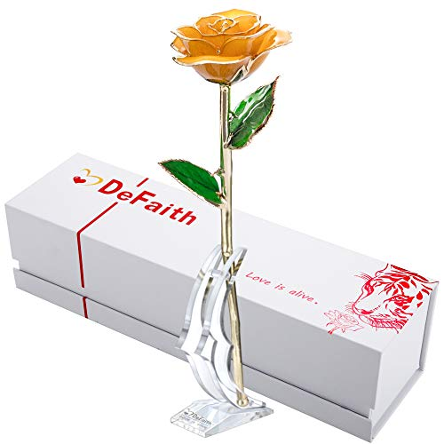 Glass Yellow Flower (DEFAITH Real Rose 24K Gold Dipped, Forever Gifts for Her Valentine's Day Anniversary Wedding and Proposal - Yellow with Stand)