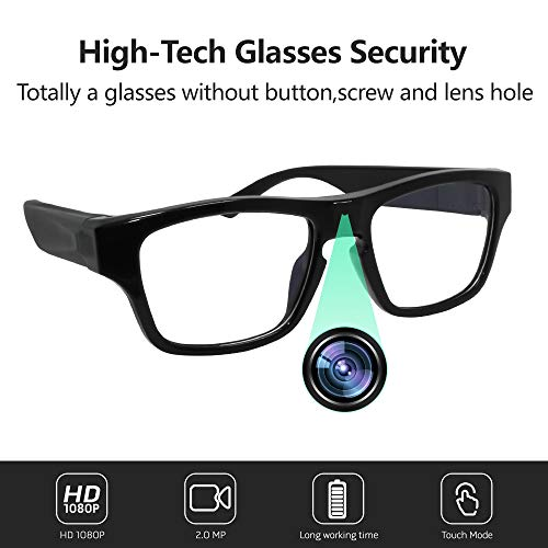 Eyeglasses Video Camera FHD 1080P, Wearable Mini DVD for Wonderful Moment Record, Perfect for Daily Life Meeting Outdoor Sports ()