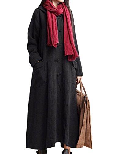 Tasche Donne Plus Casuale Nero Comfy Solido Vestito size Maxi Lino Cappuccio X16UwU5q