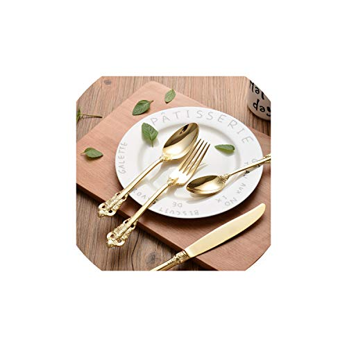 (Stainless Steel Cutlery Gold Plated Flatware Set Golden Table Fork Spoon Knife Dessert Spoon Western Dinnerware Tableware 4Pcs)