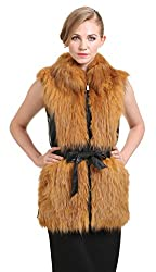 Vogueearth Women'Real Fox Fur Sheep Leather Winter Gilet Vest Gold US-8