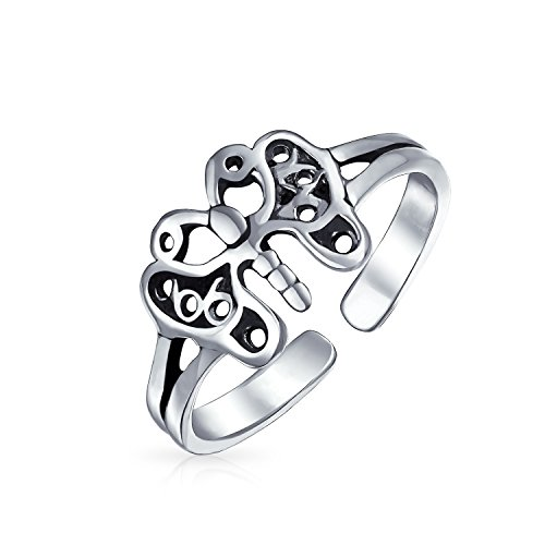 Butterfly Shape Filigree Midi Split Band Toe Ring For Women Oxidized 925 Silver Sterling Adjustable ()