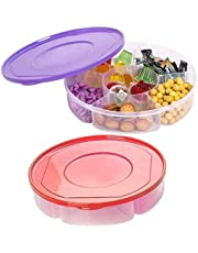 2 Pack - Candy and Nut Serving Container Appetizer Tray with Lid 6 Compartment Round Plastic Food Storage Lunch Organizer Divided Snack Platter Dish with Cover 10-Inch