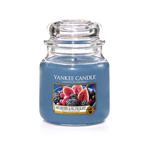 Yankee Candle Medium Jar Candle, Mulberry & Fig, Blue, 9.9 x 9.9 x 13.5 cm ()