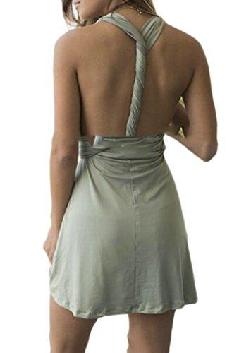 Senza Maniche Corti Verde Chiaro Solido Cromoncent Backless Abiti Womens Sexy Annodate pqRXIB