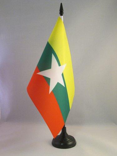 BANDIERA DA TAVOLO BIRMANIA 21x14cm - PICCOLA BANDIERINA BIRMANA 14 x 21 cm - AZ FLAG