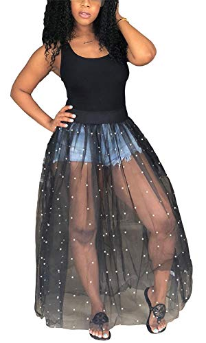 - HuiSiFang Womens Sexy Sleeveless Tank Top See Through Sheer Mesh Pearl Beading Swing Long Maxi Dress Partywear Plus Size Black L