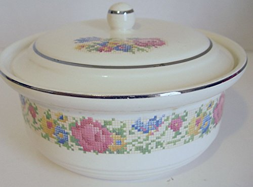 Petite Covered Casserole (Vintage Harker Hot Oven PETIT POINT Covered Casserole)